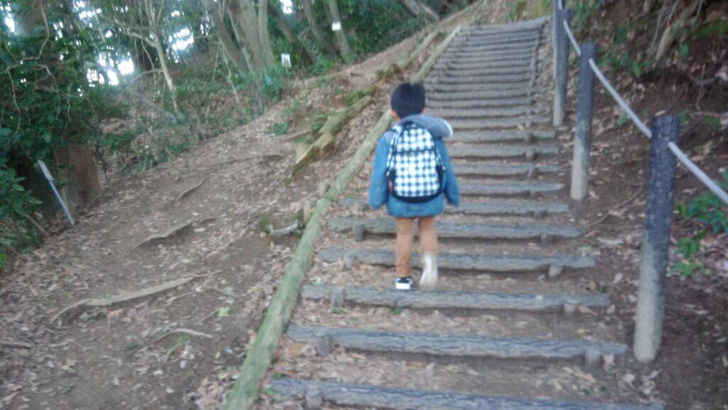 天拝山 階段 子供