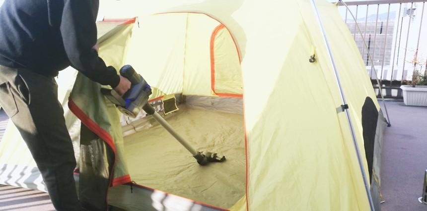 テントの掃除 ダイソン